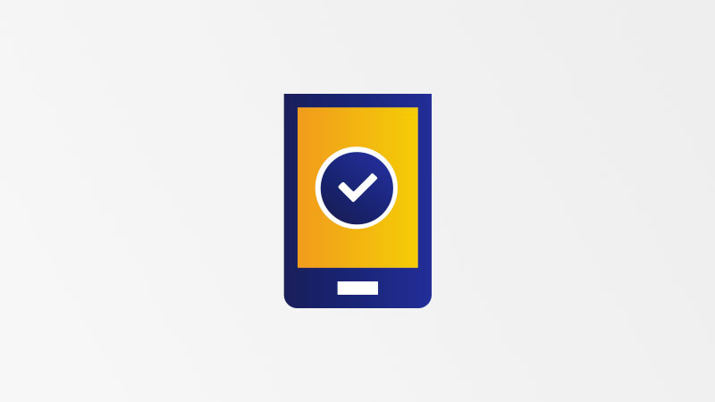 Mobile device with a checkmark symbolizing certified.